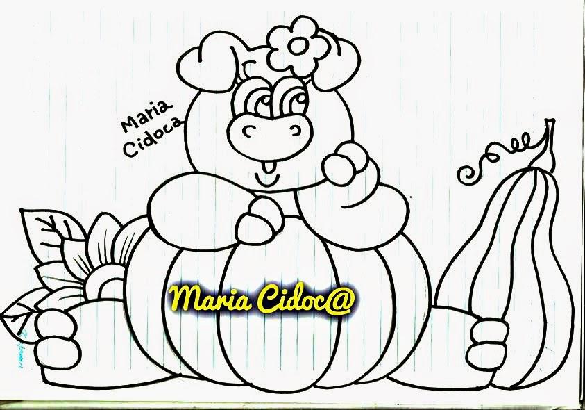 desenho de porquinha com aboboras para pintura country