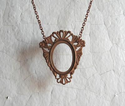 antique art nouveau brass frame necklace