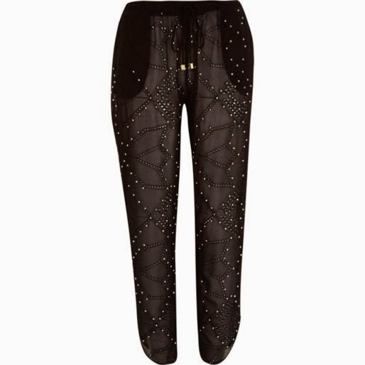 studded black trousers, sheer embellished trousers, river island beaded trousers, beaded trousers,