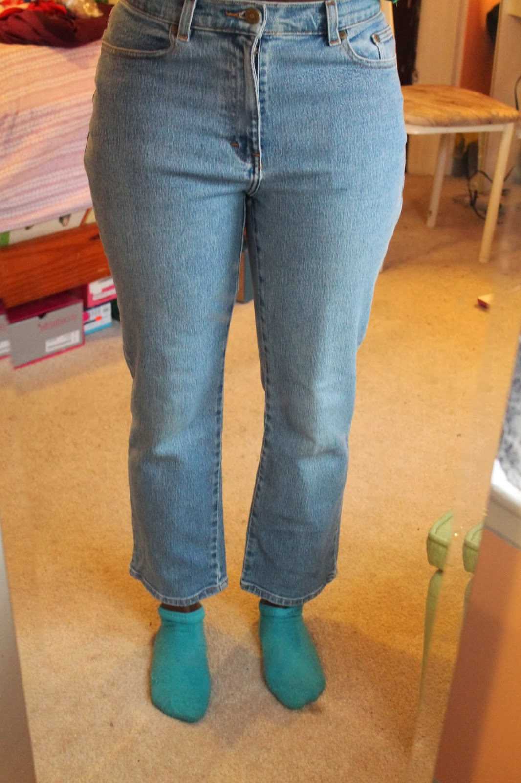 DIY Distressed Jeans Before and After