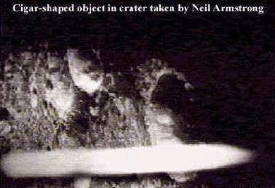 A cigar shaped unidentified object in cater taken by Neil Armstrong
