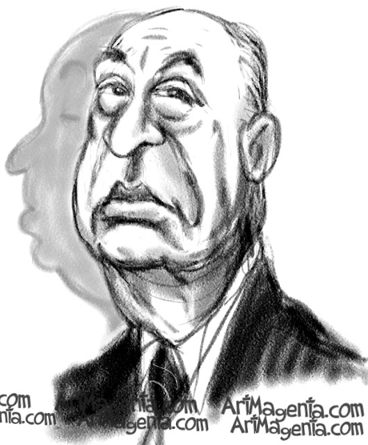 Alfred Hitchcock is a caricature by caricaturist Artmagenta