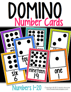 domino number cards for classroom display