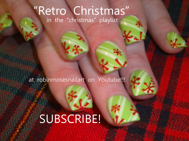 Nail Art Design Retro Christmas New Years 2011 Nails Red And