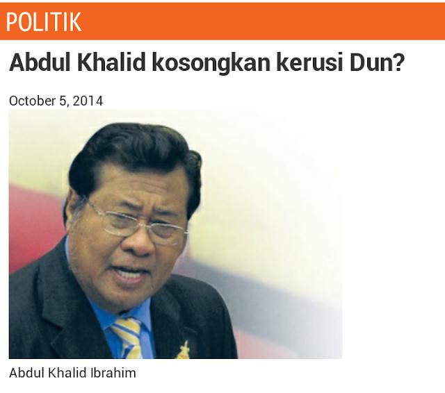 Khalid Mahu Kosongkan Kerusi DUN?!