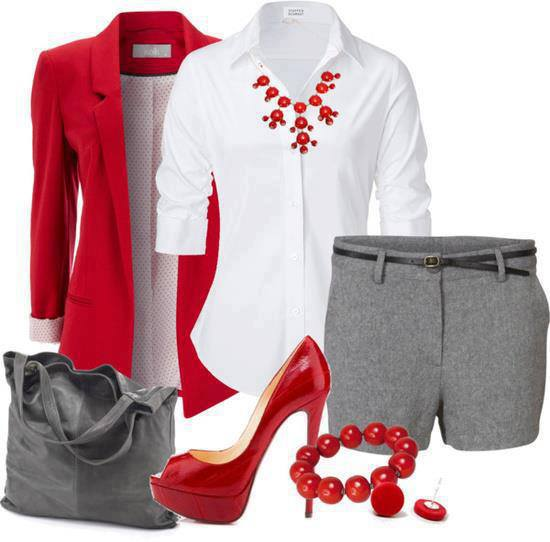 White shirt, red jacket, grey shorts, high heel shoes and grey hand bag for ladies