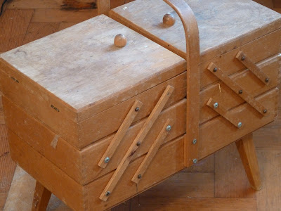 Wooden cantilevered sewing box