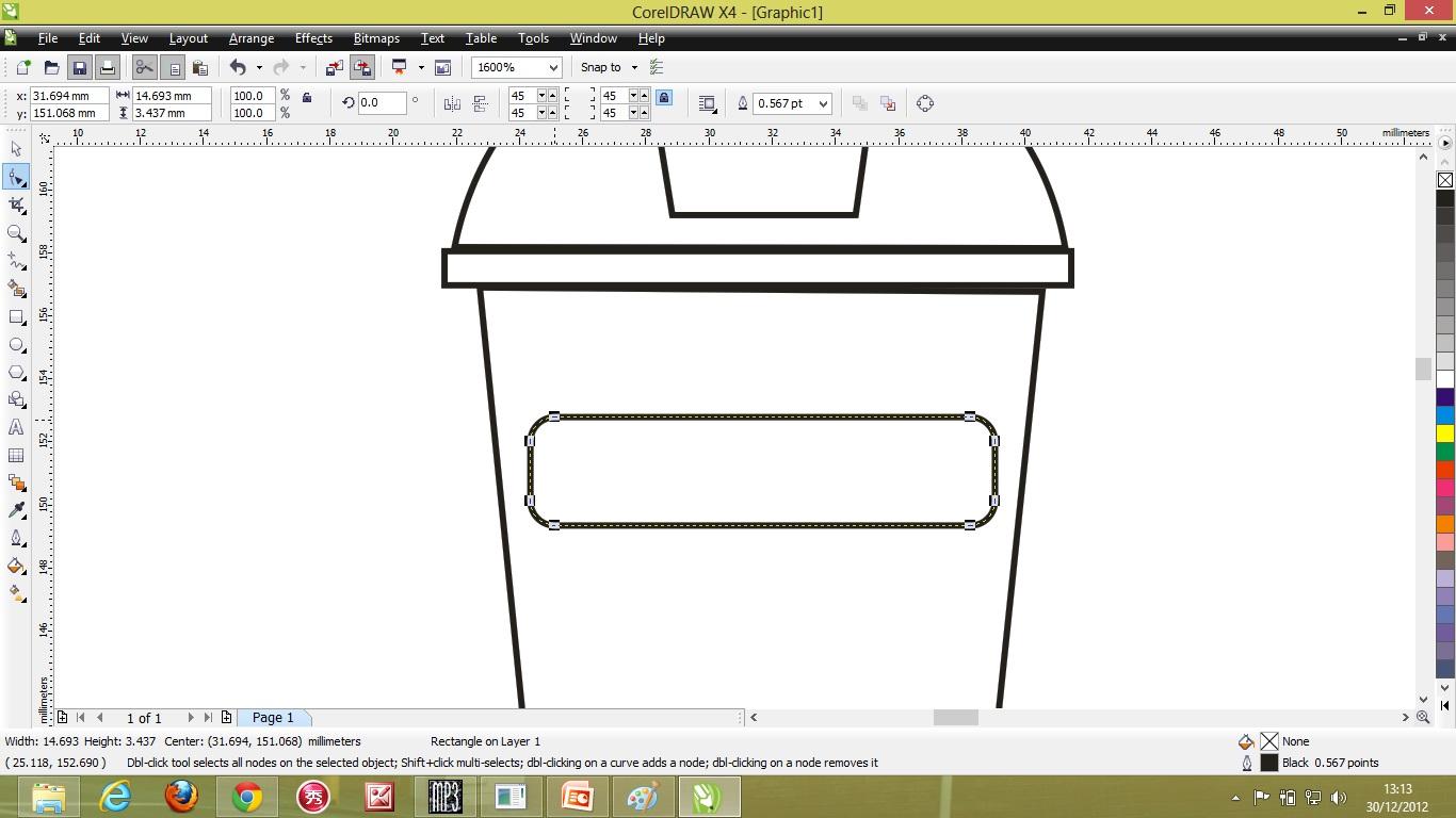 Kemudian saya membuat kotak untuk bingkai tulisan yg akan saya isi nanti dengan menggunakan rectangle tool kemudian gambar yg dibawahnya itu saya sedikit