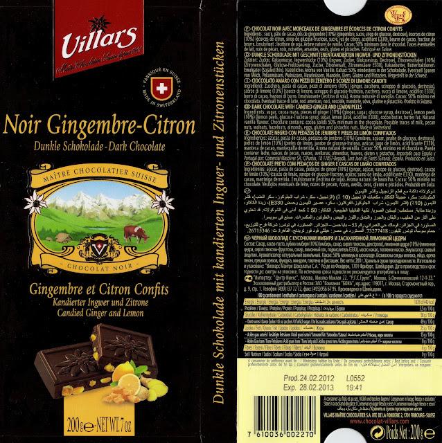 tablette de chocolat noir gourmand villars noir gingembre citron