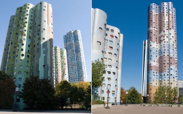 Edificios «Tours Aillaud» (también conocido como «Nuages Tours») en Nanterre, un suburbio de París, Francia.
