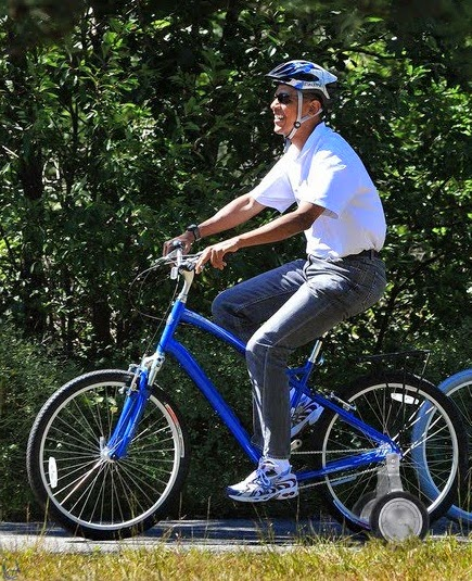 Image result for obama bicycle training wheels