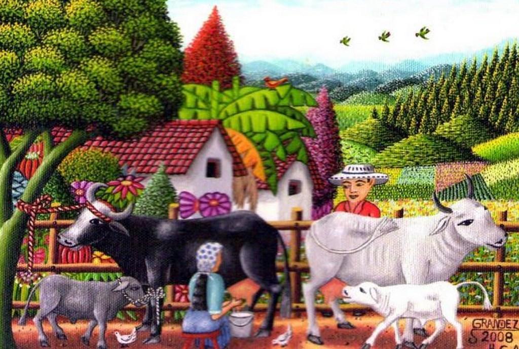 Pinturas cuadros lienzos cuadros de arte primitivista o - Cuadros de vacas ...