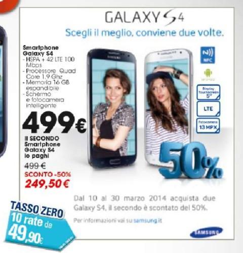 Samsung sconta del 50% il secondo Galaxy S4 se ne acquistate due con garanzia Italia