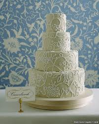 Martha Stewart Crewel Design Wedding Cake