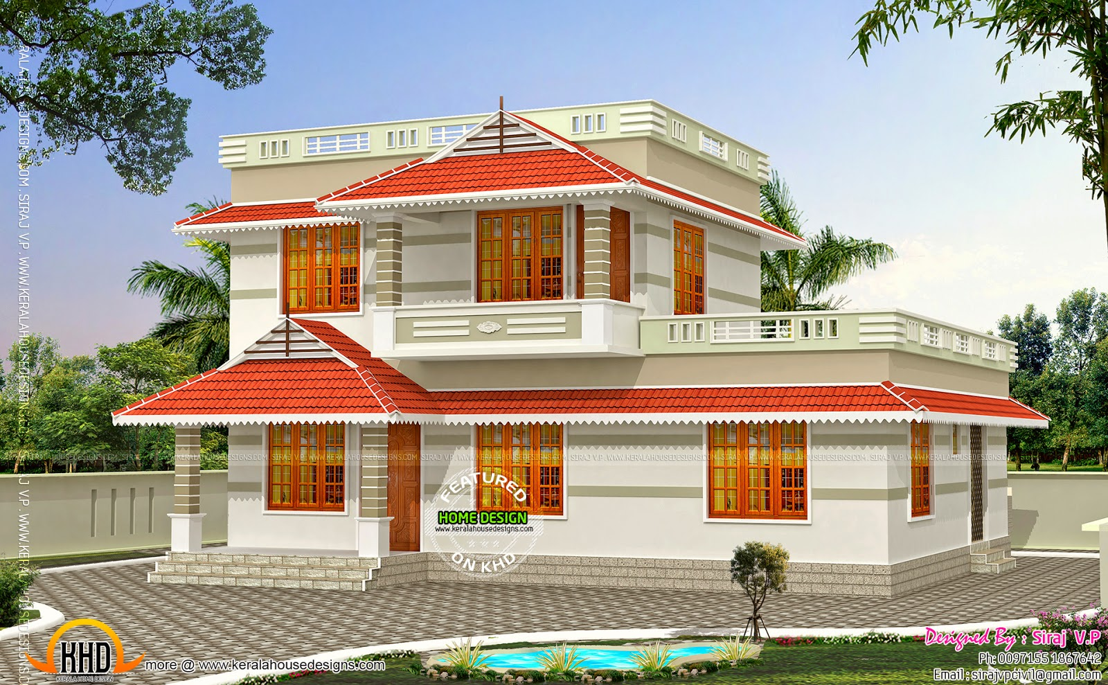 Kerala style low cost double storied home kerala home for Low cost home design