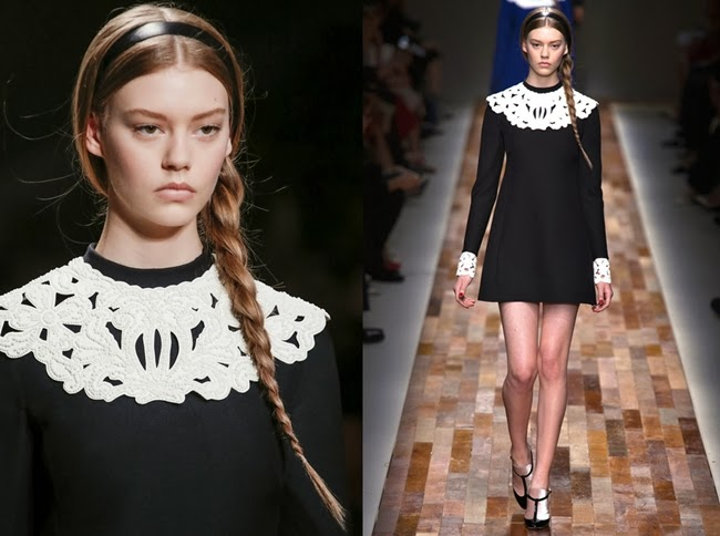 Valentino 2013 AW Black Dress With White Lace Collar