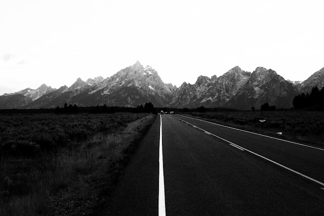 A morning drive headed into the Tetons.