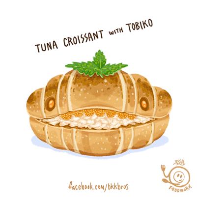 tuna croissant with tobiko