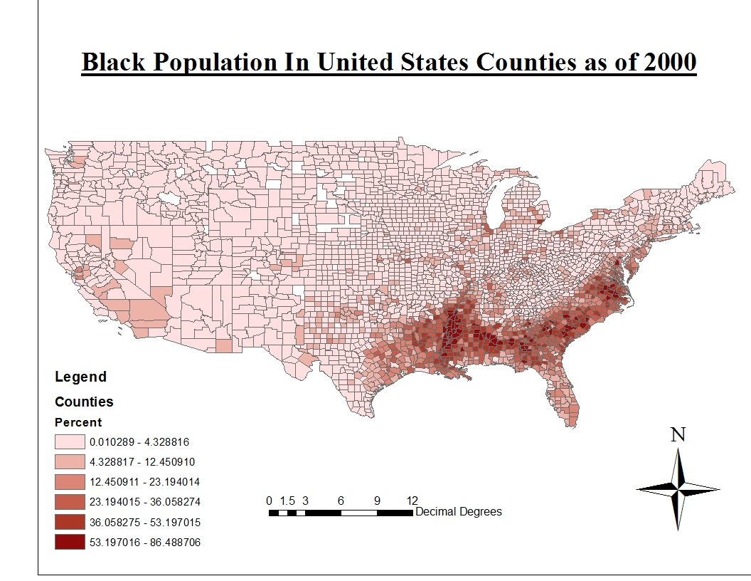the second map displays the distribution of black people in the united states like the asians most black people live in coast areas