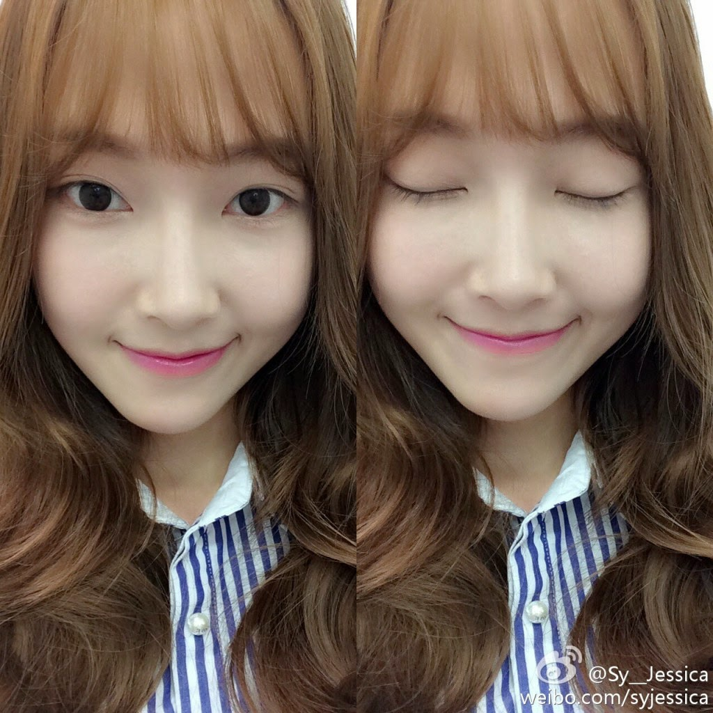 snsd jessica shows off her bangs in her latest selca