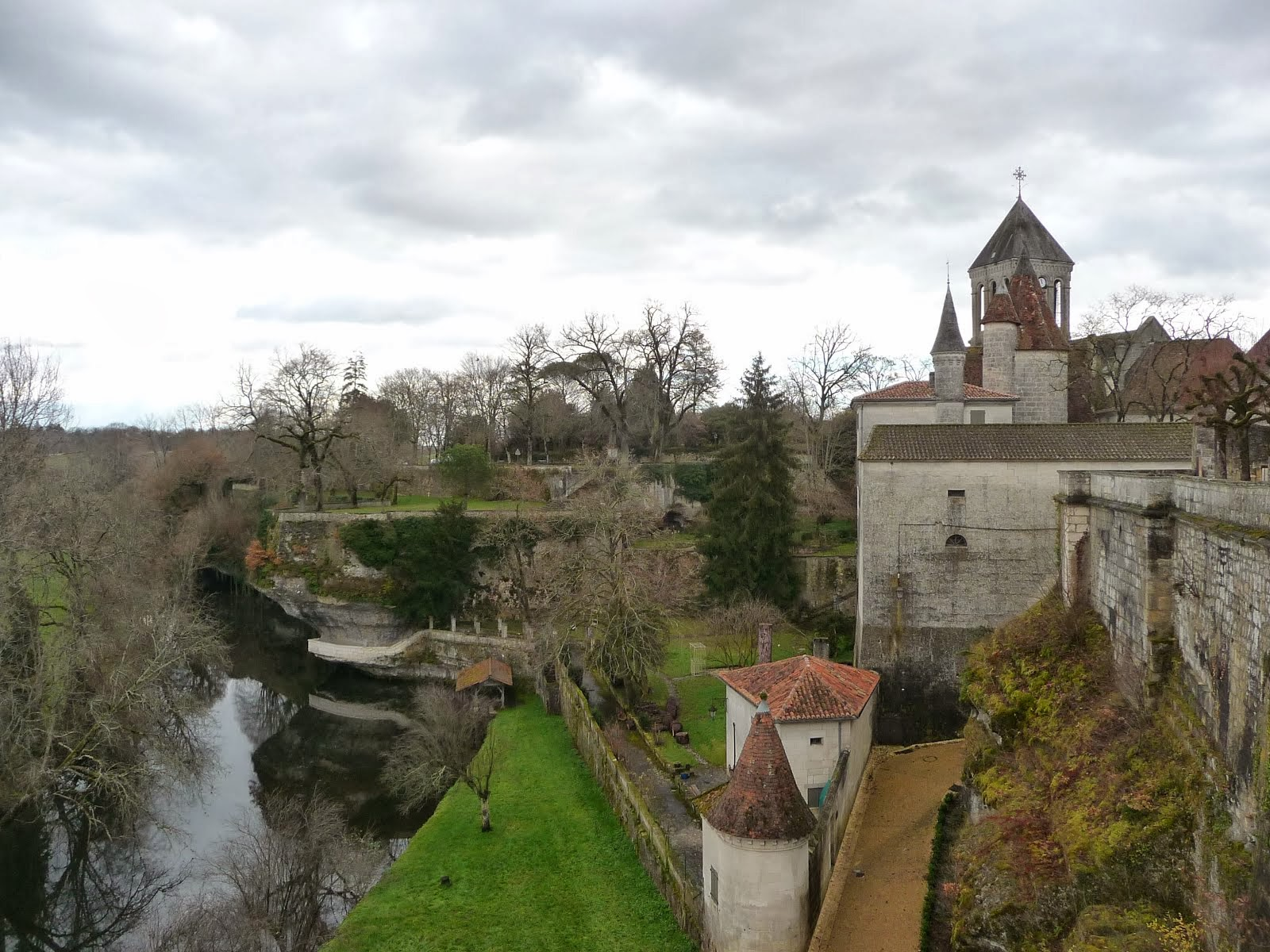 River Dronne seen from the battlements of Bourdielles Castle