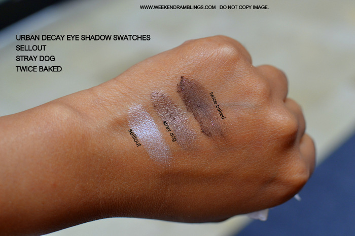 Urban Decay Makeup Eyeshadow Indian Beauty Blog Swatches FOTD Brown Beige Twice Baked Stray Dog Sellout