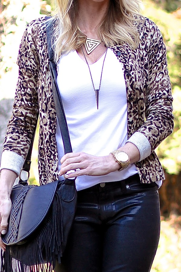leopard sweater with white tee