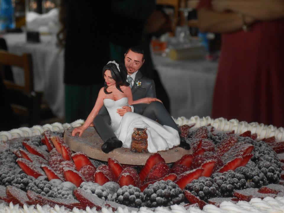 cake topper artistici sposini torte milano coppia con gattino orme magiche