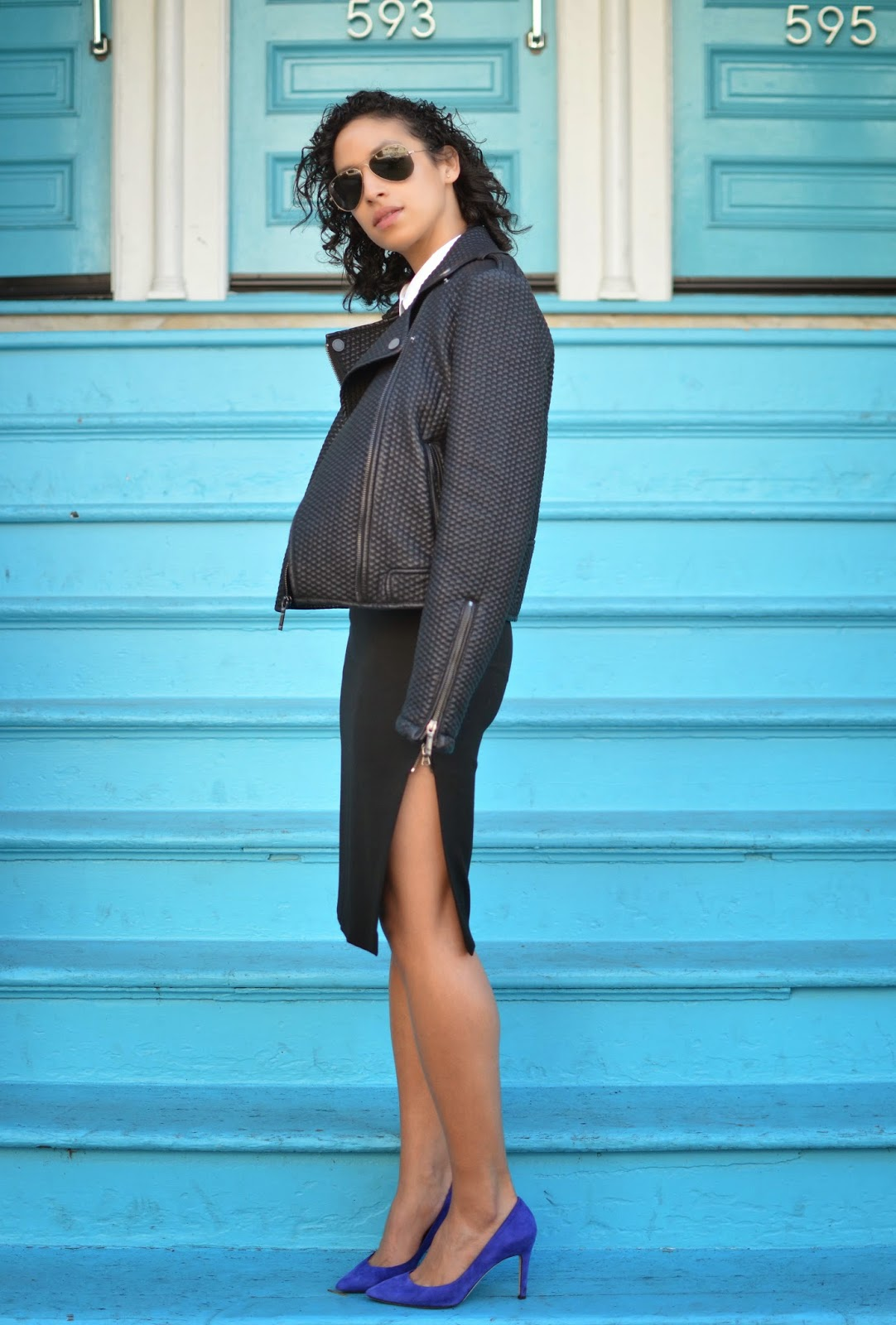 black leather moto jacket, BCBG MaxAzria leather moto, Proenza Schouler x Target, Zippered pencil skirt, short curly hair, J. Crew Everly pumps