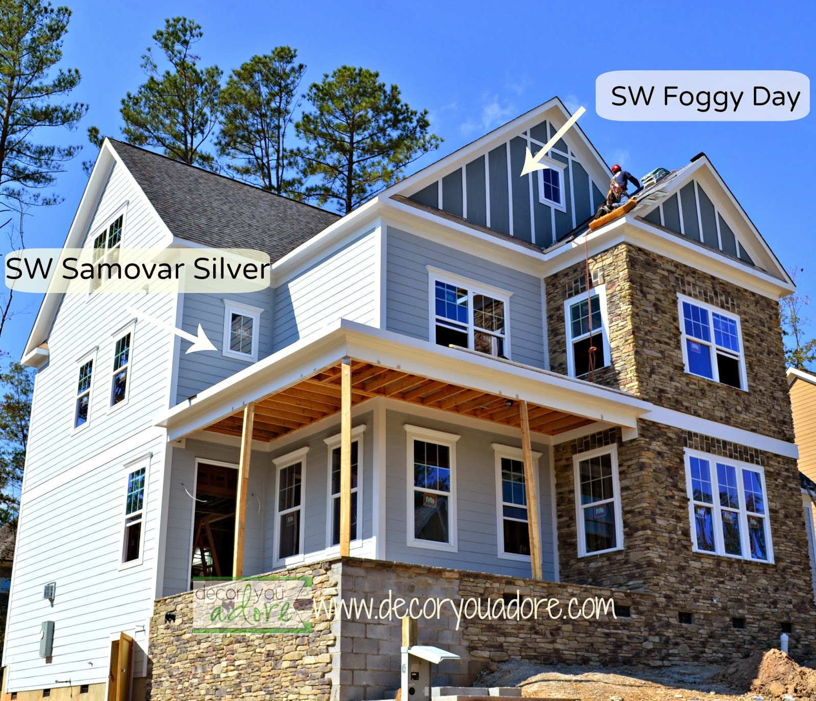 SW Samovar Silver, SW Foggy Day, Exterior Paint Color