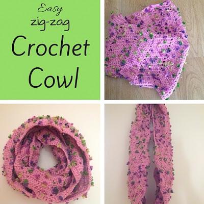 easy zig zag crochet cowl with instructions