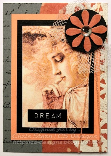 Arty digital stamp ATC Art trading card