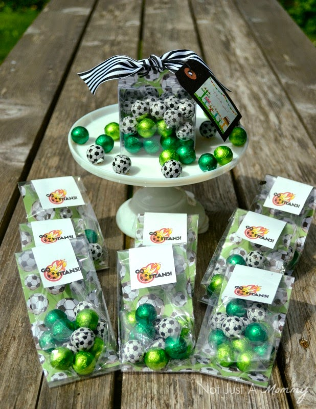 chocolate soccer ball favors with SweetWorks
