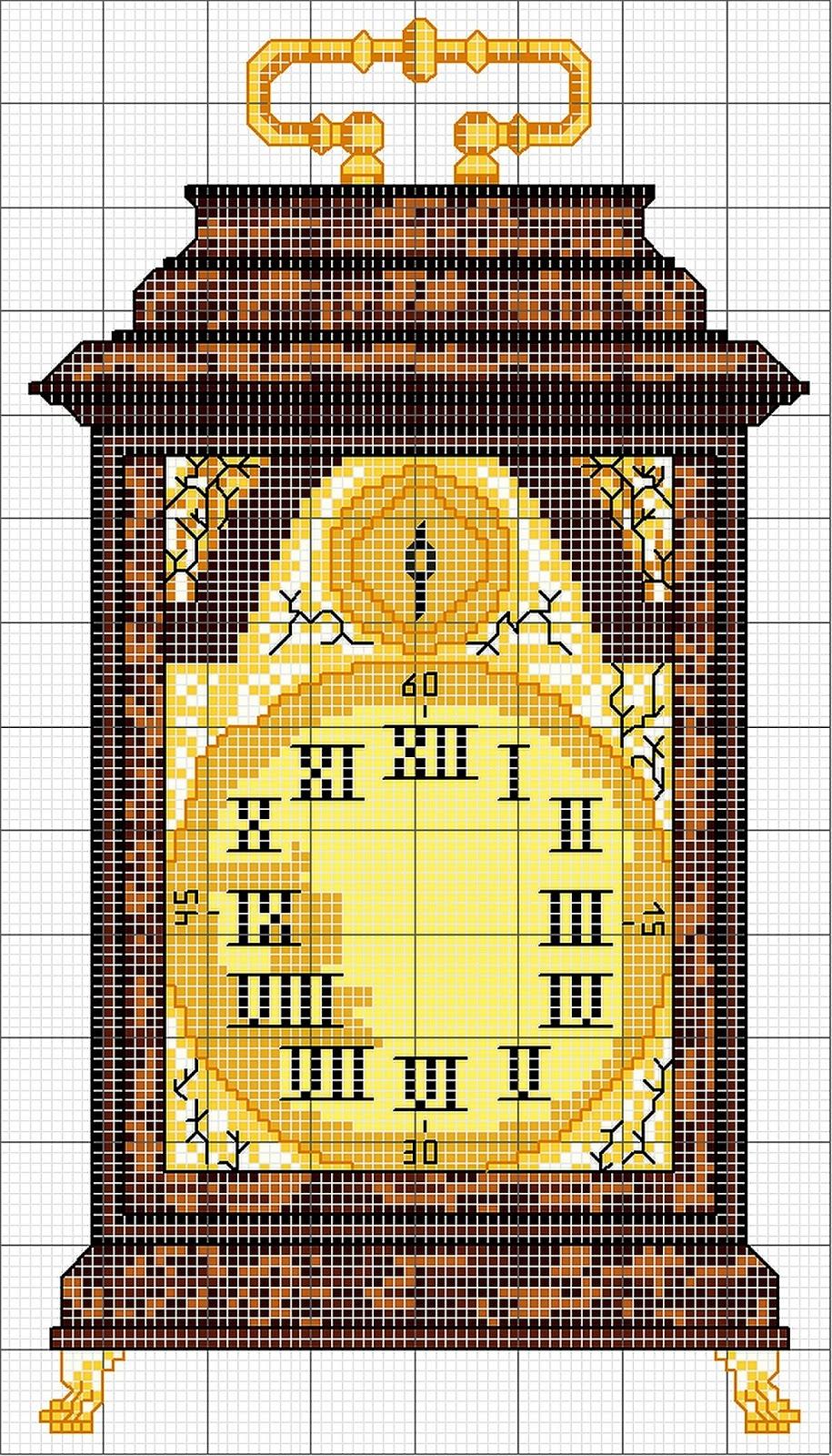 Schema punto croce orologio antico for Orologio punto croce schemi gratis
