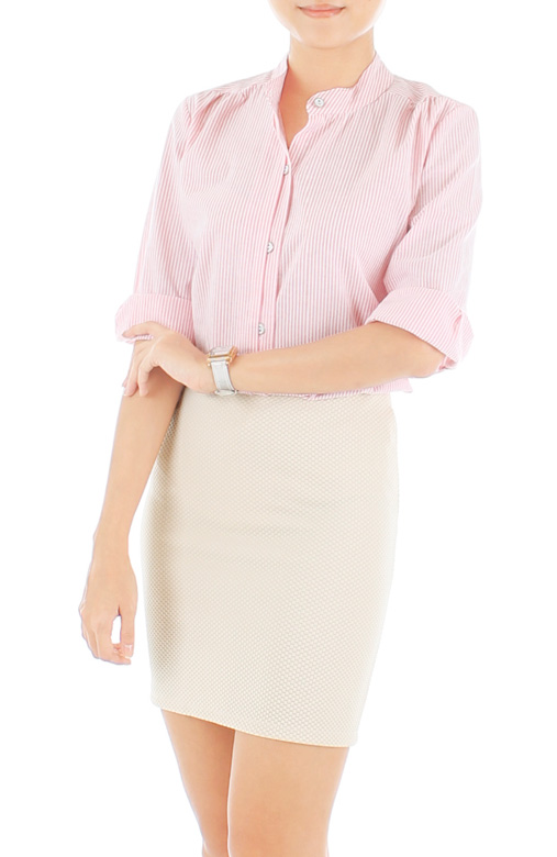 Preppy Jane Pinstripe Shirt – Pink