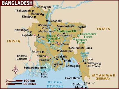 Bangladesh Karta Regional Städer