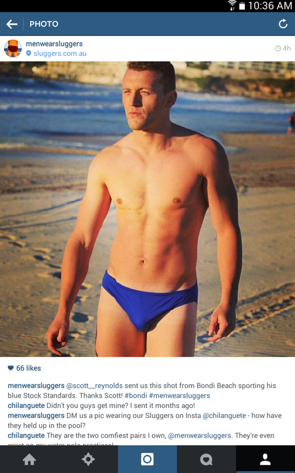 Scott at Bondi beach at sunrise wearing Sluggers swimers, on Instagram - Marketing picture by Kent Johnson