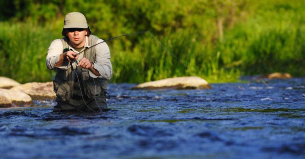 Рыбак тащит