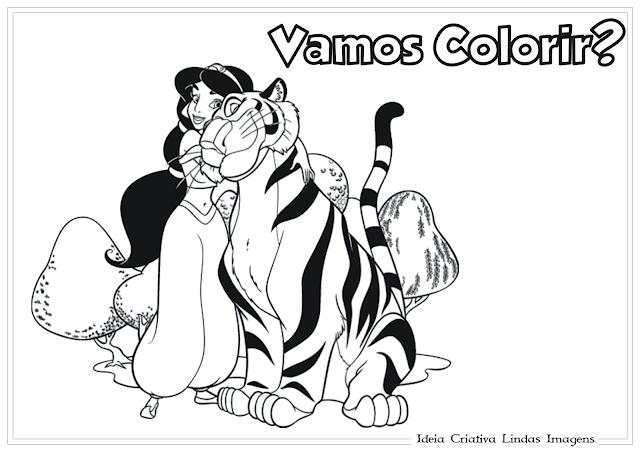 Jasmine e Tigre desenho para colorir