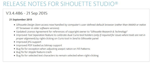 http://www.silhouetteamerica.com/software/release-notes/146