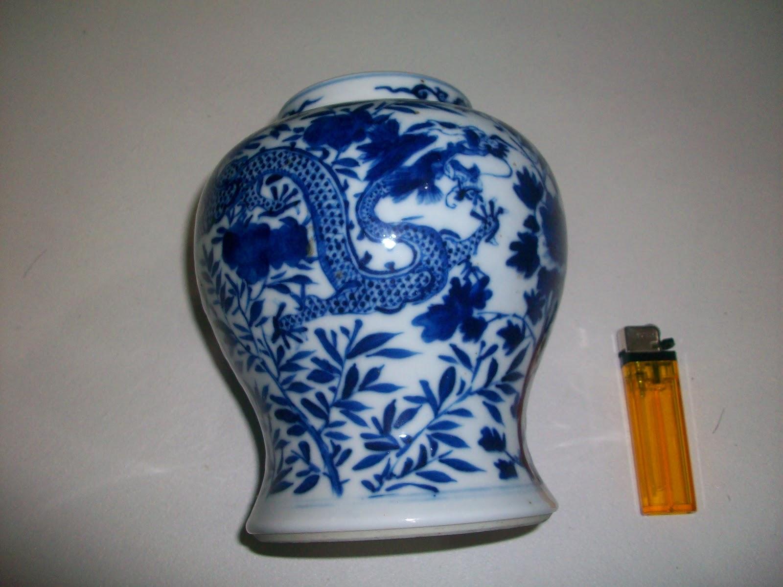 jual kristal sabun keramik antik guci biru putih naga