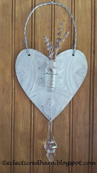 Eclectic Red Barn: Metal heart with vase and crystal