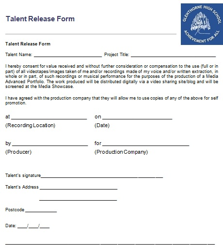 Becka Thompson: Talent Release Form