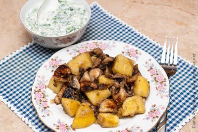 картошка с грибами и окрошкой на кефире