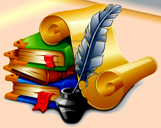 books, ink, and feather in pink background