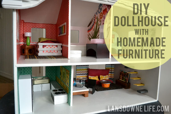 Modern DIY Dollhouse with homemade furniture
