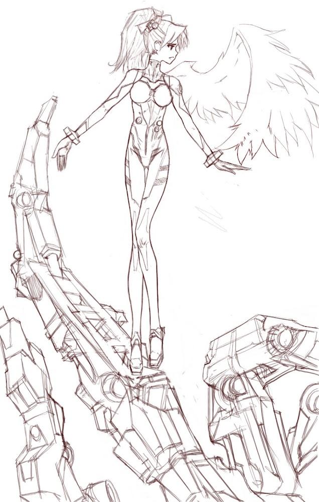 Asuka Neon genesis evangelion concept design dibujo draw