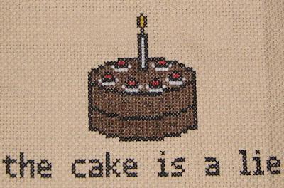 The Cake Is A Lie Cross Stitch