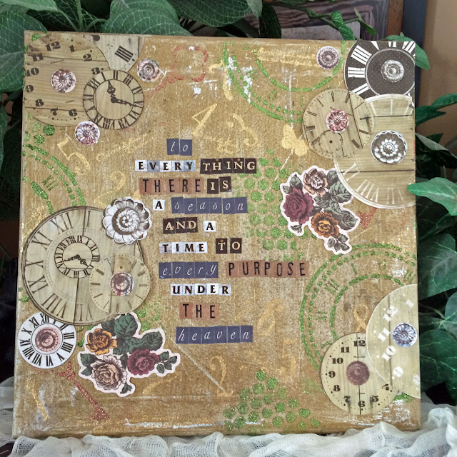 To Everything There is a Season Altered Canvas by Lynn Shokoples for BoBunny featuring Foil Transfers and the Provence Collection