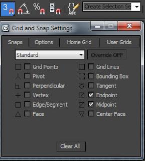 Opciones de snaps toogles en 3ds max